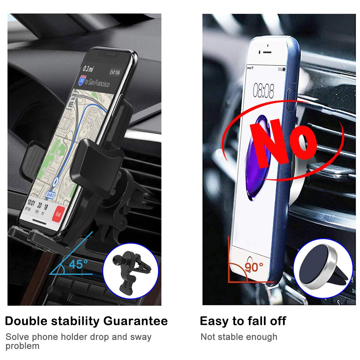 Car Phone Mount, Air Vent Cell Phone Holder for Car Universal Gravity Automatic Clip Locking Car Phone Holder Cradle Compatible with iPhone Xs MAX/XR/X/8/8Plus/7/7Plus/6s, Galaxy S10/S9/S8 LG Pixel