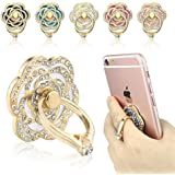 Phone Ring, ECVILLA Luxury Rose Shape Universal Phone Holder, 360° Rotation/3D Ring Grip for iPhone iPad Samsung LG HTC Nokia Huawei Tablet (white)