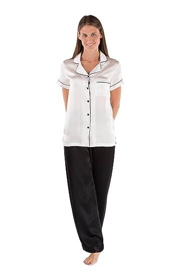 TexereSilk Women s Elegant Silk Pajama Set (Black   White a894ea0cf