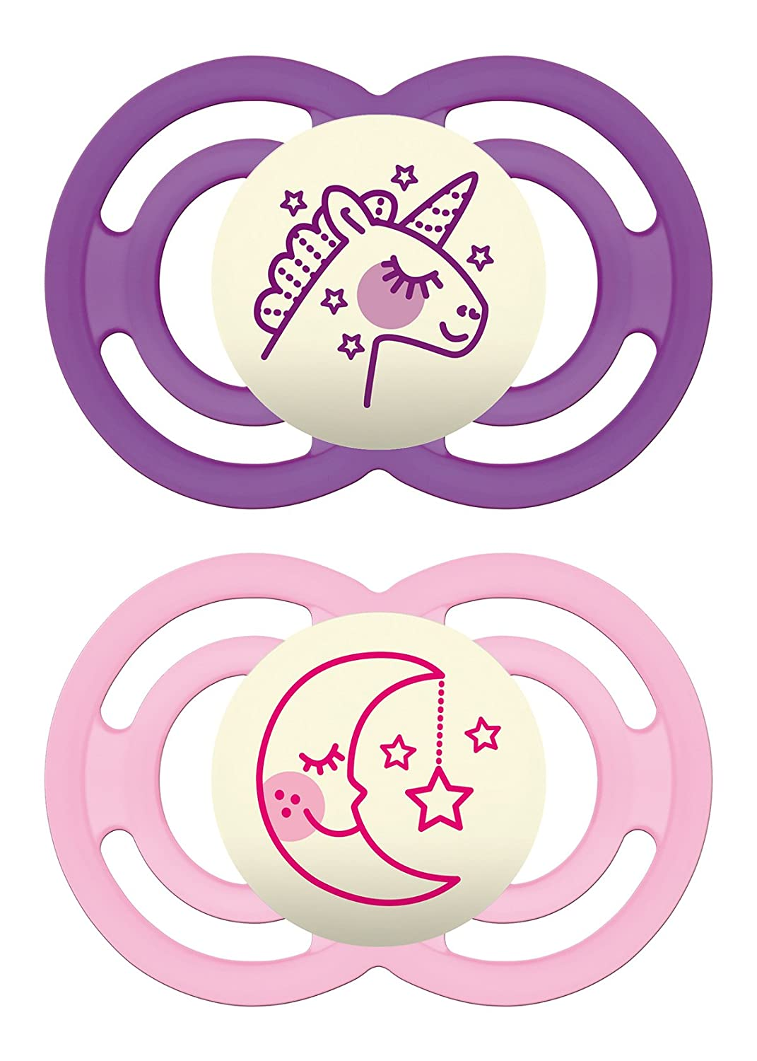 MAM Glow in The Dark Pacifiers, Baby Pacifier 6+ Months, Best Pacifier for Breastfed Babies, Premium Comfort and Oral Care 'Perfect' Collection, Girl, 2-Count 3774-012-0-1