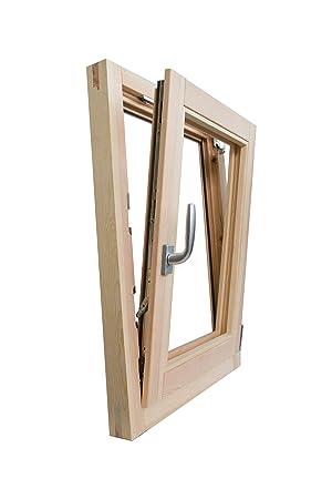 Fenêtre En Bois Brut De Pin 60 X 100 Cm Ouverture à Rabat Avec Porte