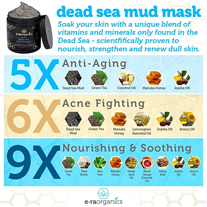 Era Organics Máscara de barro de mar muerto con aloe vera orgánico, manteca de karité, miel manuka y aceite de cáñamo (177 ml), máscara facial de calidad de ...