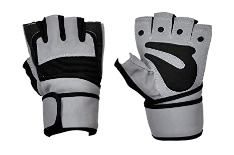 Pro Weight Lifting Body Building Gloves Gym Fitness Training Straps Leather Grip