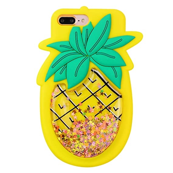 buy online eb309 35c88 Quicksand Pineapple Case for iPhone 6 Plus/6S Plus,Soft Cute Silicone 3D  Cartoon Fruit Food Cover,Shockproof Vivid Color Kids Girls Boys Bling  Glitter ...