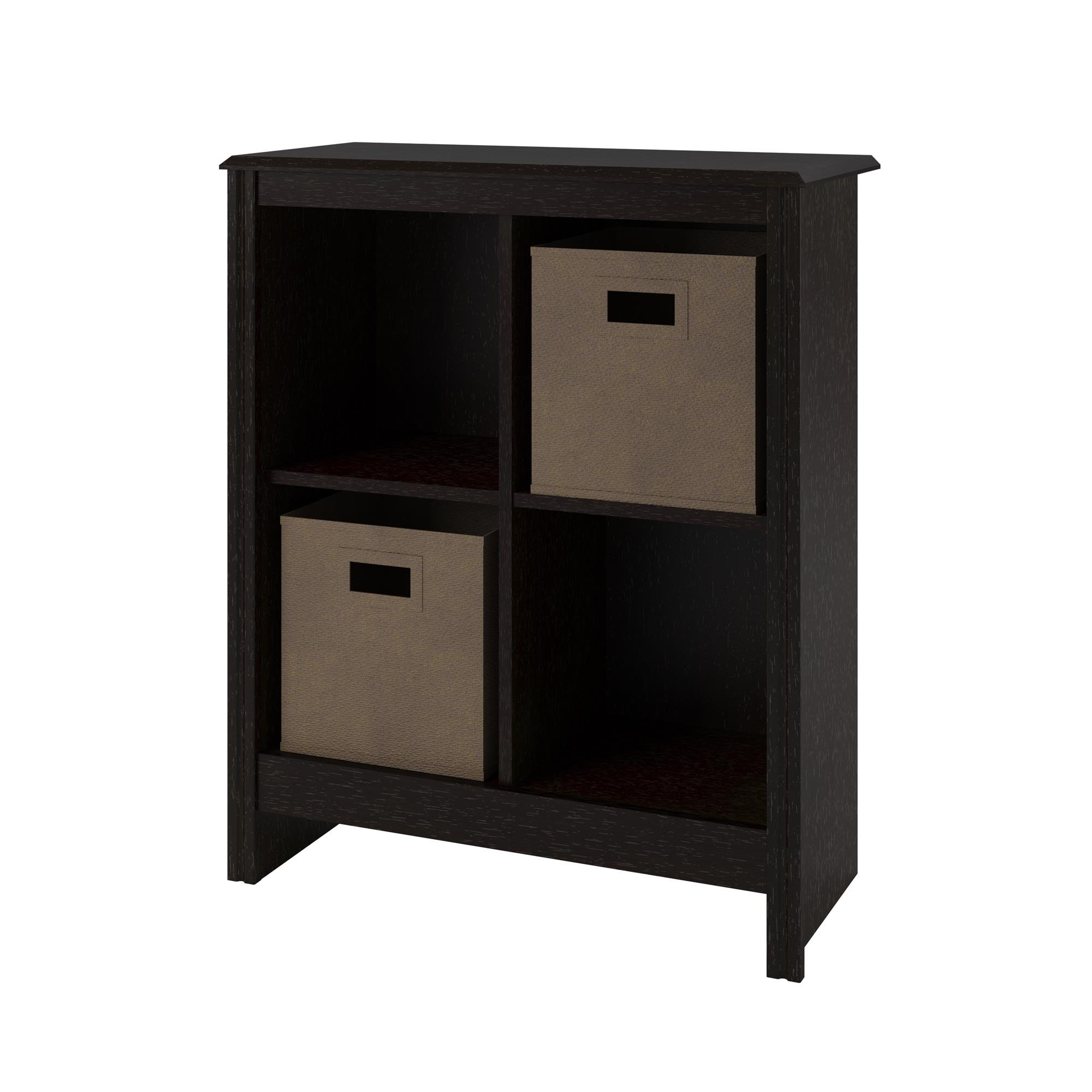 Ameriwood 4-Cube Cubby Bookcase with 2-Storage Bins, Black Roast