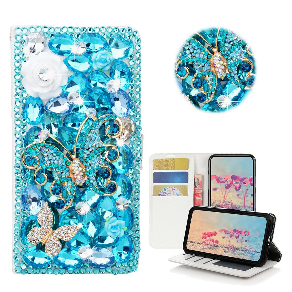 STENES iPhone 8 Plus Case - Stylish - 3D Handmade Bling Crystal Rose Flowers Butterfly Desgin Wallet Credit Card Slots Fold Media Stand Leather Case for iPhone 7 Plus/iPhone 8 Plus - Light Blue