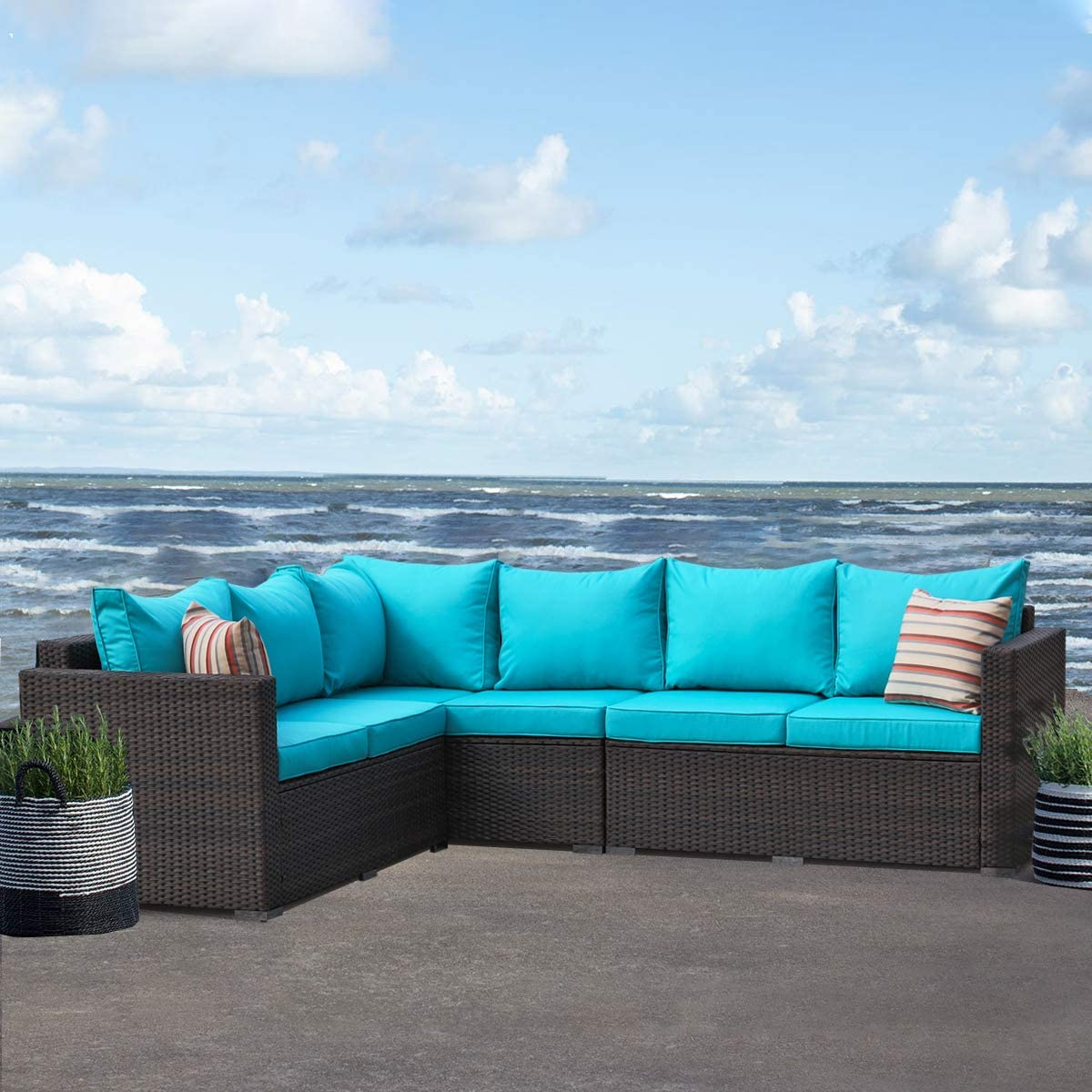 Amazon Com Patio Furniture Garden 5 Pcs Sectional Sofa Brown Wicker Conversation Set Outdoor Indoor Use Couch Set Turquoise Cushion Garden Outdoor