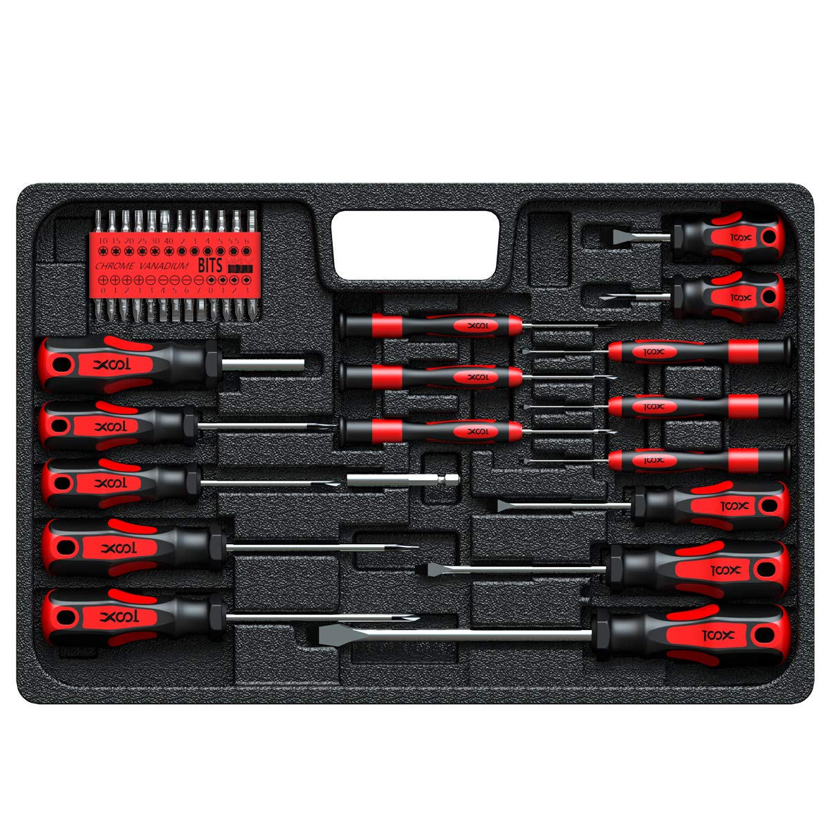 Screwdriver Set, Professional Screwdriver Set with Case, Torx Phillips Slotted Hex Pozi Precision Screwdriver Set,42-PC Made of 6150CRV with Heavy Duty Magnetic Tips for Home Repair,Improvement,Craft by XOOL