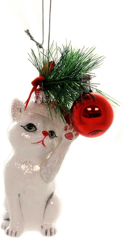 """KURT ADLER NOBLE GEMS 5/"""" TABBY CHRISTMAS CAT KITTEN AT PLAY GLASS XMAS ORNAMENT"""