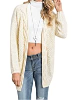 Moludoya Women's Long Sleeve Open Front Outwear Chunky Pullover Knit Cardigan Sweater