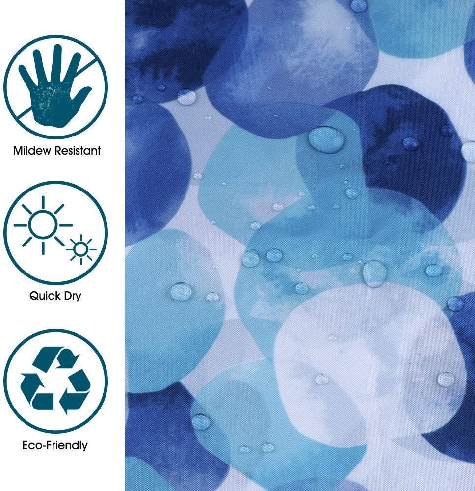 Polyester bleu JRing Rideau de douche en tissu polyester lavable en machine avec 12 crochets 72W x 72L