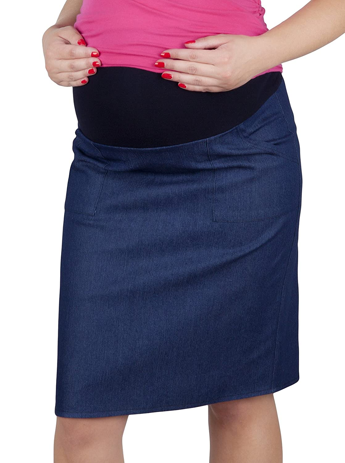 Mija – Maternity pregnancy Denim skirt with soft jersey panel 3047