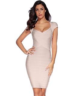 3be4ee508ef9 Amazon.com: Bqueen Women's Spaghetti Strap Bodycon Bandage Dress ...