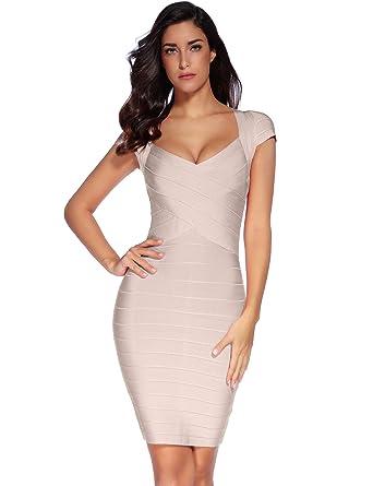 Amazon.com  Meilun Women s Bandage Dress Square Neck Bodycon Party ... 124afef1f5cf