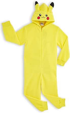 Pokèmon Pikachu Pijama Entero para Niños Niñas De Una Pieza, Cosplay, Pijama Animal Disfraz Go Capucha,Ropa de Dormir Invierno, Regalos para Chicos Chicas 4-14 Años