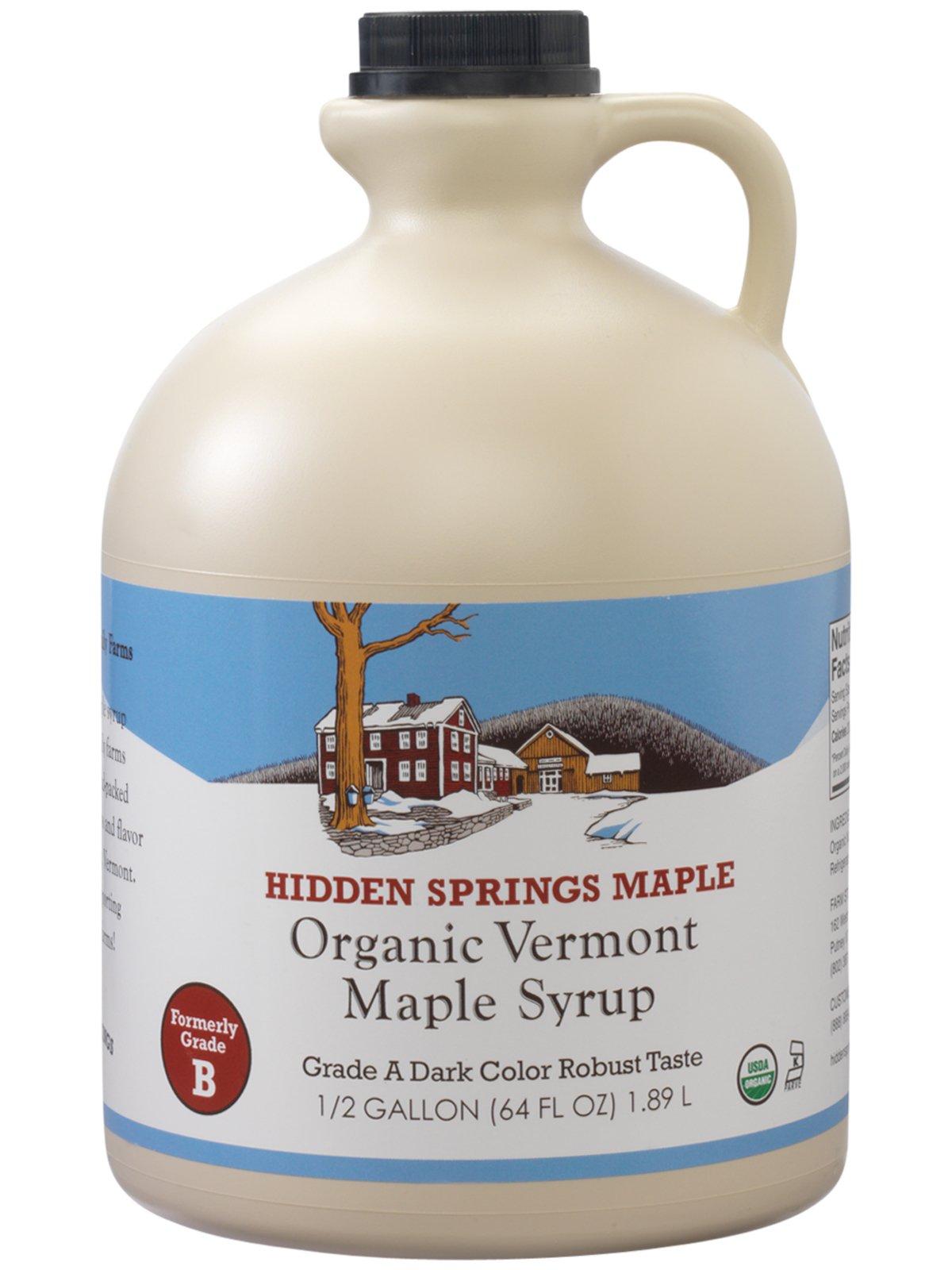 Hidden Springs Organic Vermont Maple Syrup, Grade A Dark Robust (Formerly Grade B), 64 Ounce, 1 Half Gallon, Family Farms, BPA-free Jug