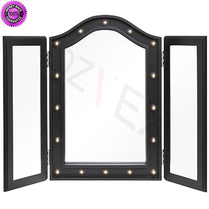 amazon com dzvex lit tabletop tri fold vanity mirror w led lights