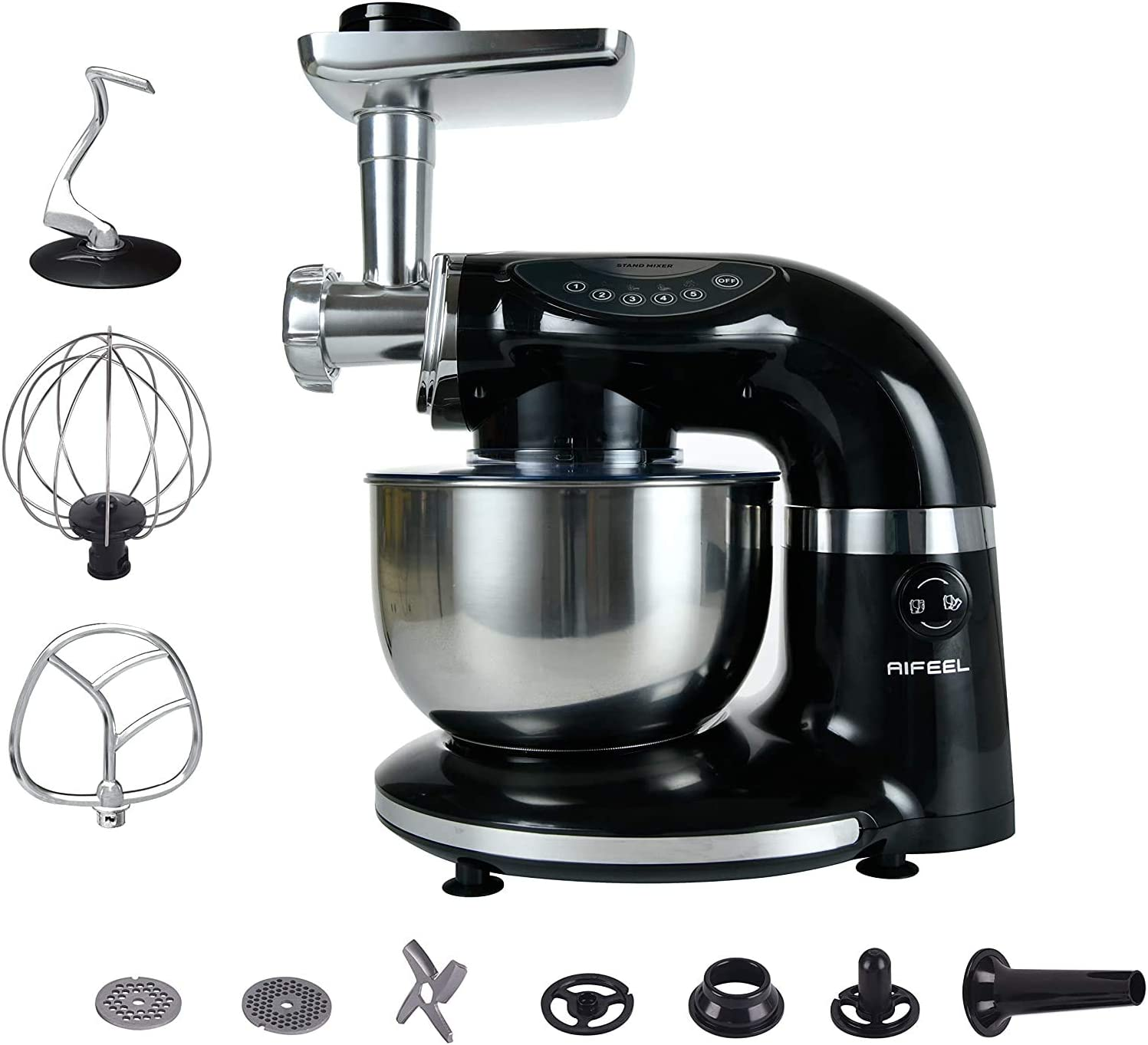 Aifeel Stand Mixer - 1000W 7 in 1 Multi Functional Kitchen Machine with 4L Food Grade Bowl, Food Grinder, Full Set Maker Accessories - 5 Speed Settings and LED Display