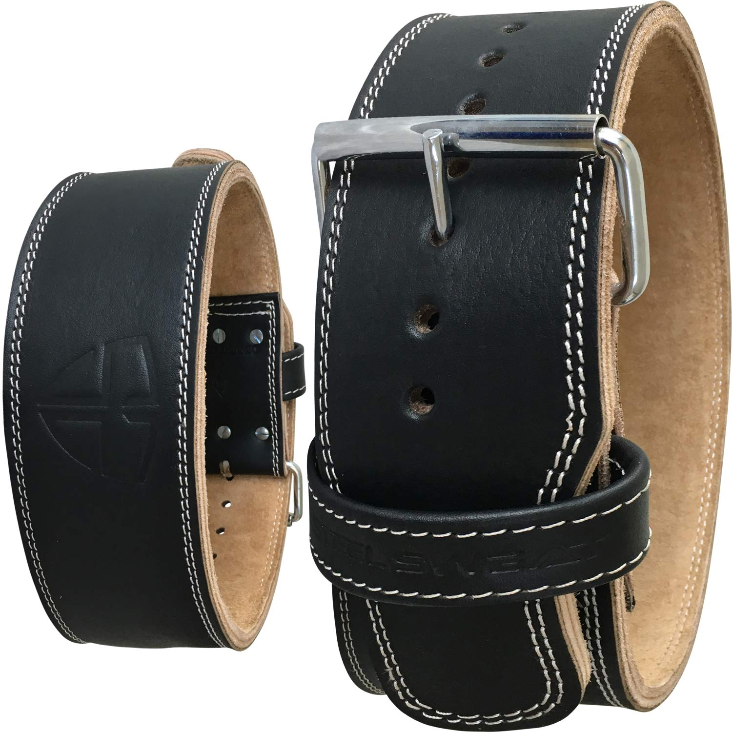 Steel Sweat Weight Lifting Belt - 4 Inches Wide by 10mm - Single Prong Powerlifting Belt That's Heavy Duty - Genuine Cowhide Leather - Medium Texus by Steel Sweat (Image #1)