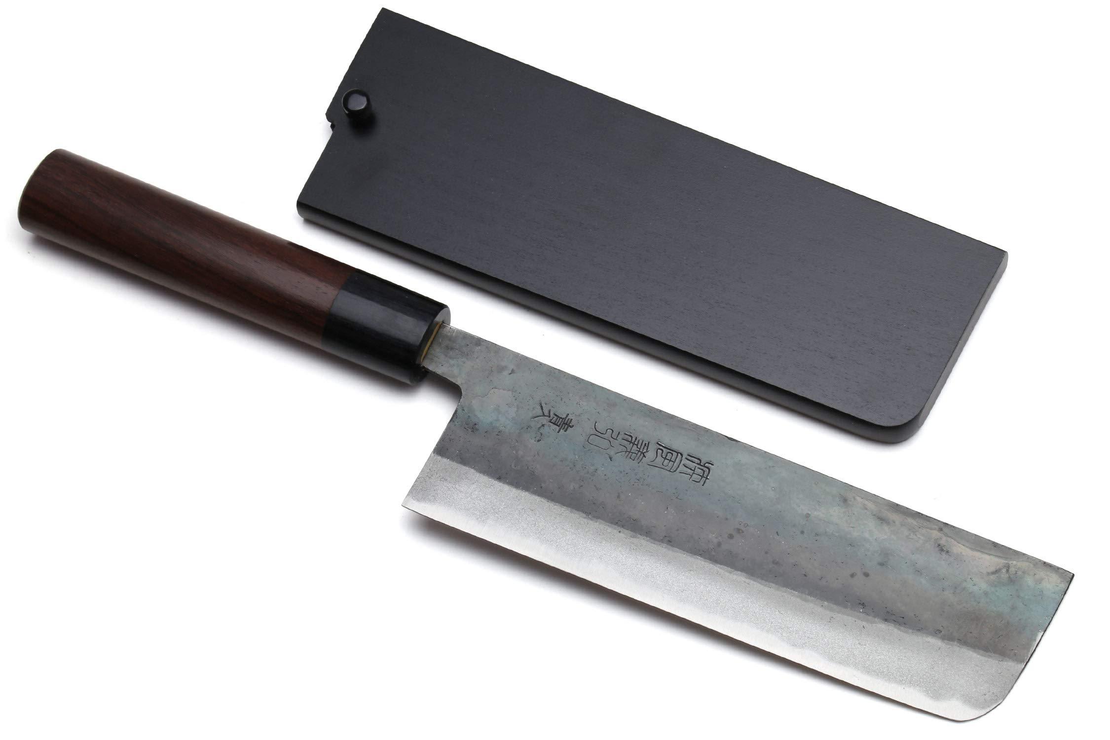 Yoshihiro Mizu Yaki Blue Steel Kurouchi Nakiri Japanese Vegetable Chef Knife (6.5'' (165mm) & Saya)
