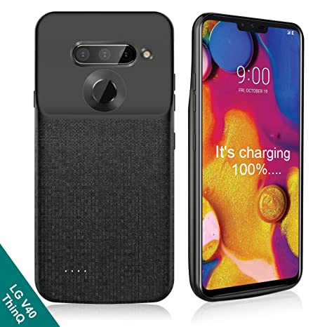 NEWDERY LG V40 ThinQ Battery Case, 5200mAh Slim Portable Power Charger Case with Raised Bezel Soft Edge Full Protection, Charging Case Only for LG V40 ...