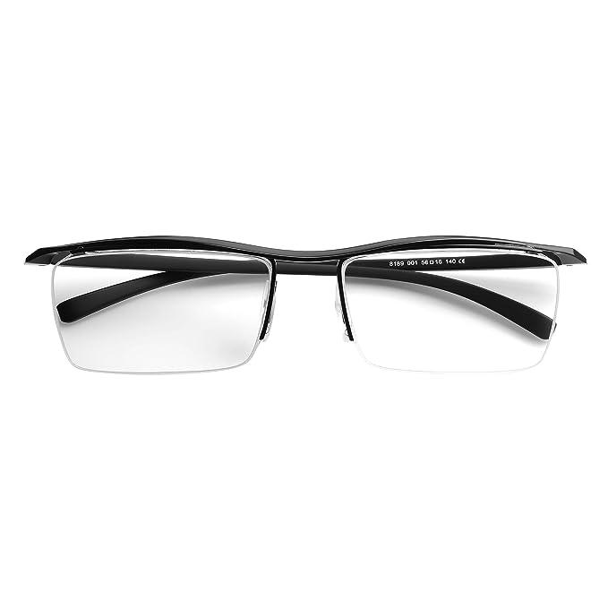 Amazon.com: Titanio puro Semi montura Hombres anteojos ...