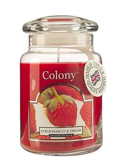 Colonia de verano colección de grandes fresas y crema, rojo cerezas y mandarina Peach velas