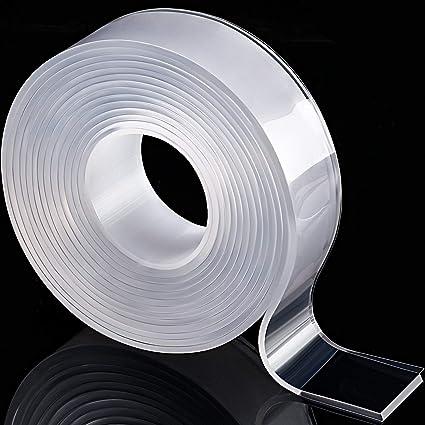 JOYKK Ruban Adh/ésif Silicone r/éutilisable Autocollants muraux Double Face antid/érapants Transparent