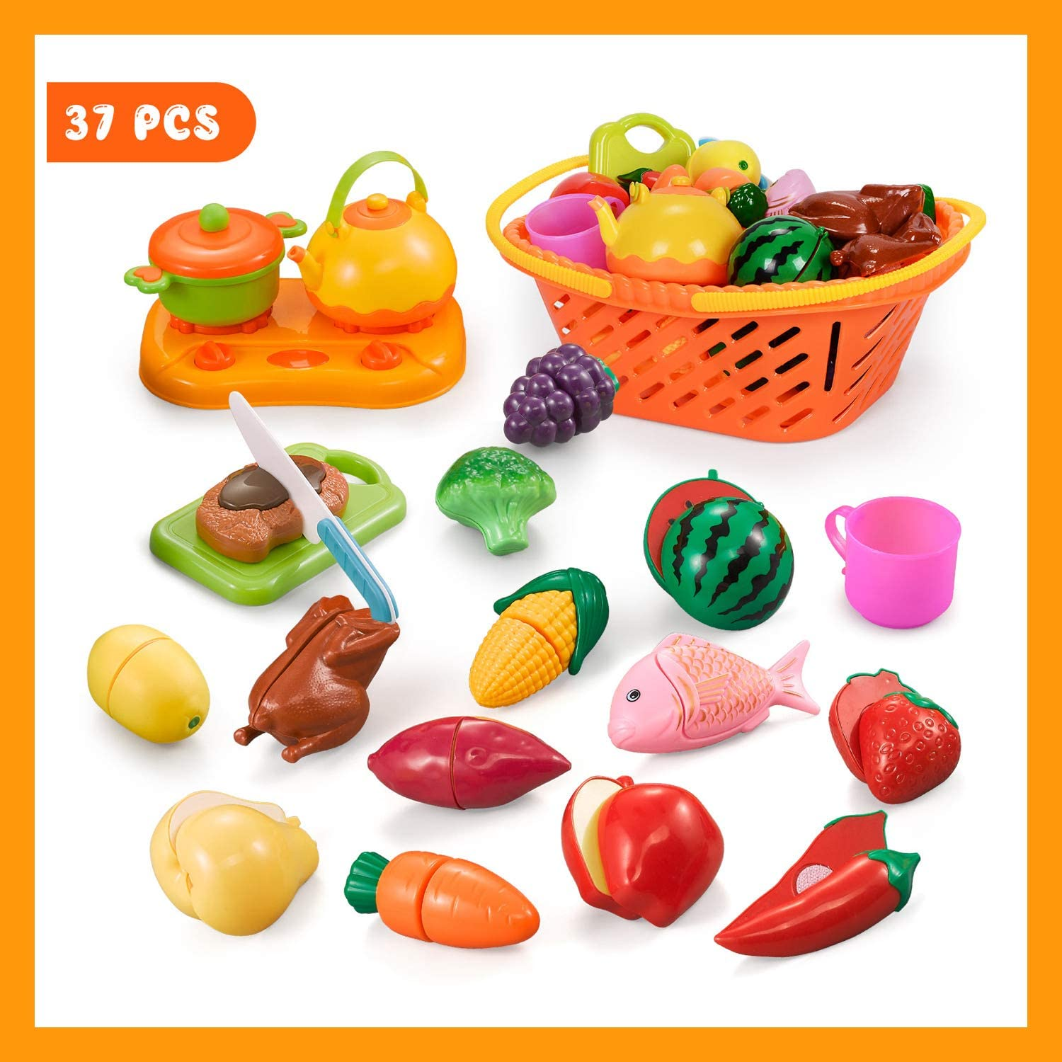 NextX Play Kitchen Food, Cutting Fruits and Vegetables Educational Toys, Pretend Toy Food Set for Toddlers 6 to 12 Months, Toy Kitchen Accessories for Baby with Storage Market Basket