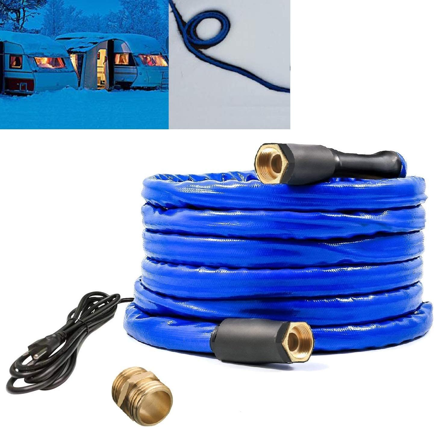 "H&G lifestyles Heated Water Hose for Rv 1/2"" Inner Diameter Self-Regulating 25ft 200W Blue"