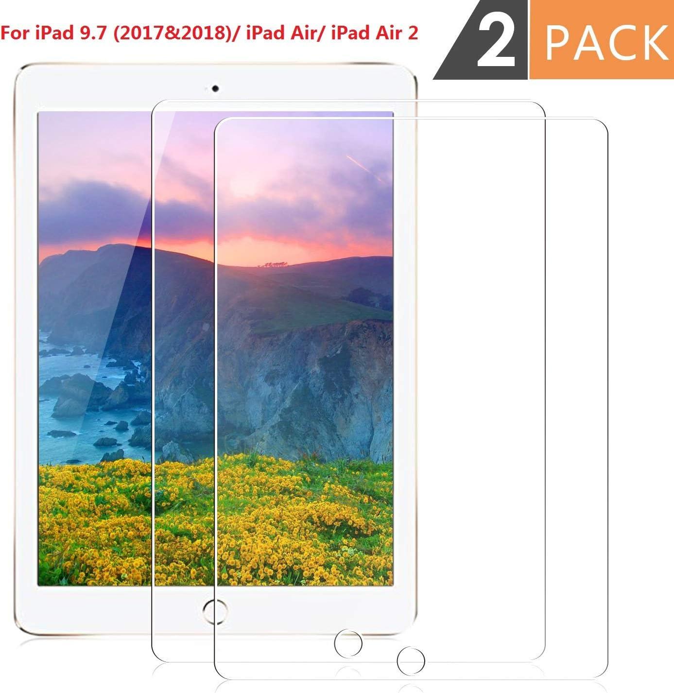 [2 Pack] iPad Air 2 / iPad Pro 9.7 / iPad Air/iPad 9.7 2017&2018 Screen Protector,DETUOSI iPad 9.7 Screen Protector,Clear High Definition Tempered Glass Screen Protector for iPad 9.7 inch (iPad 9.7)