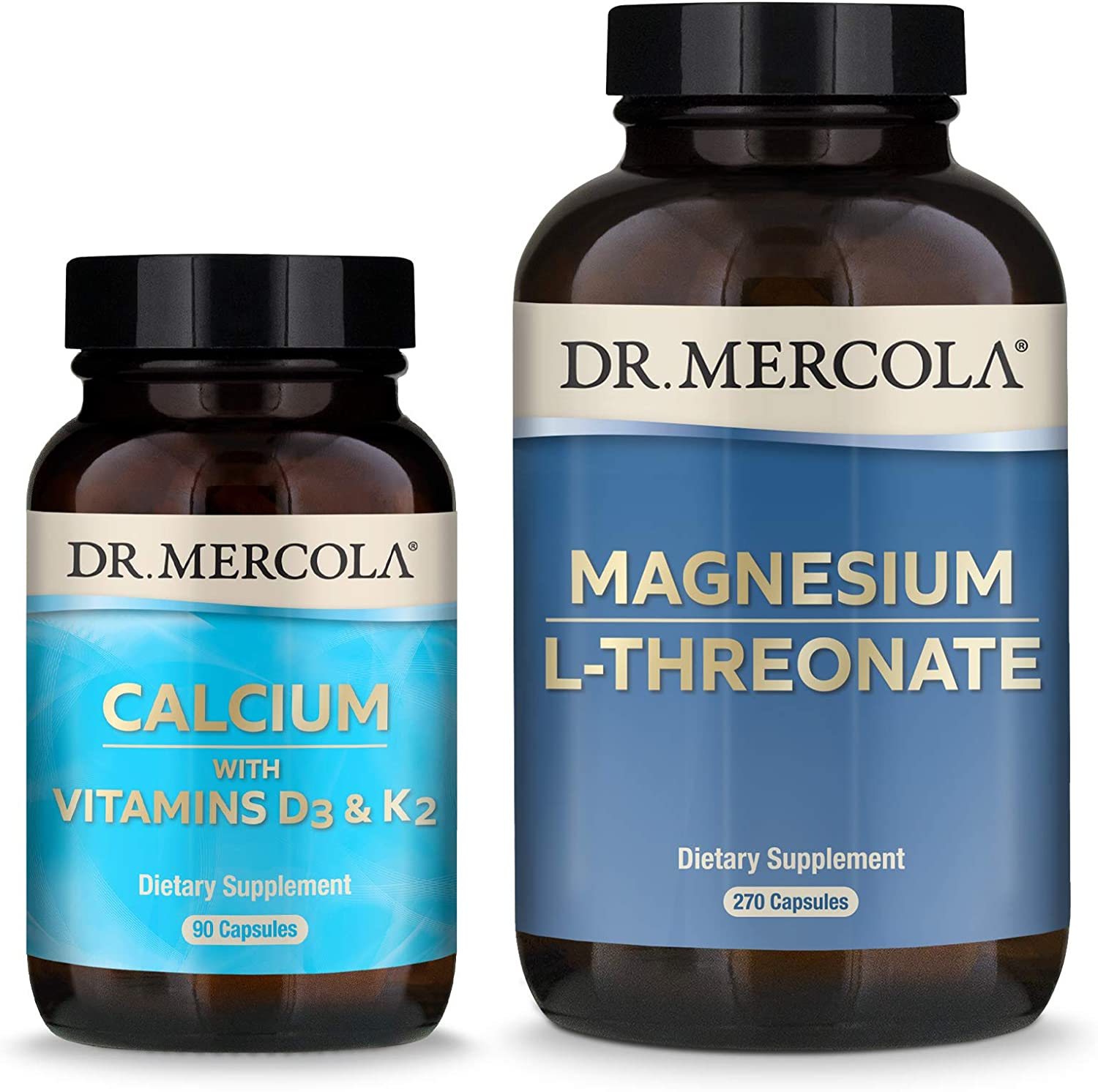 Dr. Mercola Calcium D3 & K2 and Magnesium L-Threonate Pack (90 Servings), Supports Bone and Cardiovascular Health, Non GMO, Soy Free, Gluten Free