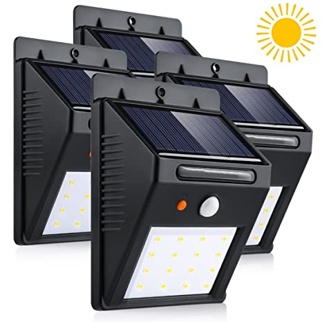 LEDMO 4-Pack Luz Solar LED, 16 LED Lámpara Solar LED, blanco 6000K