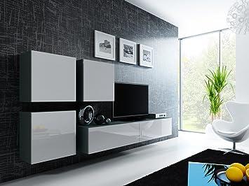 Wohnwand weiß grau hochglanz  Wohnwand Anbauwand VIGO in MDF Hochglanz, Pusch Click, Farbauswahl ...