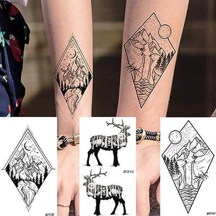 Yangll Peak Mountain Tatuaje Temporal Falso Negro Elk Tatuajes ...