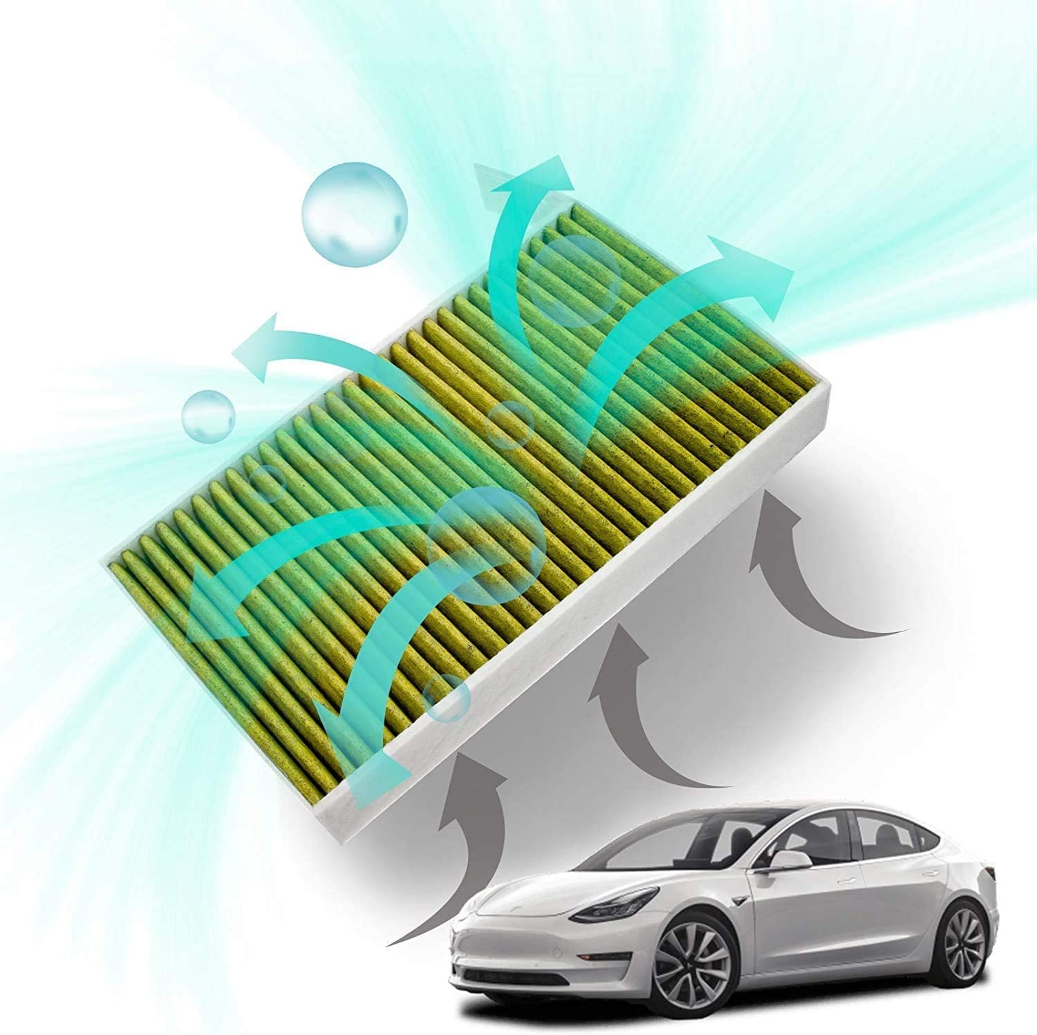 Taptes Tesla Model 3 Filter Car Interior Air Filter 2021 Version With Pm2 5 Activated Carbon Biofunctional Pollen Filter Air Filter For Tesla Model 3 2 Pieces Auto
