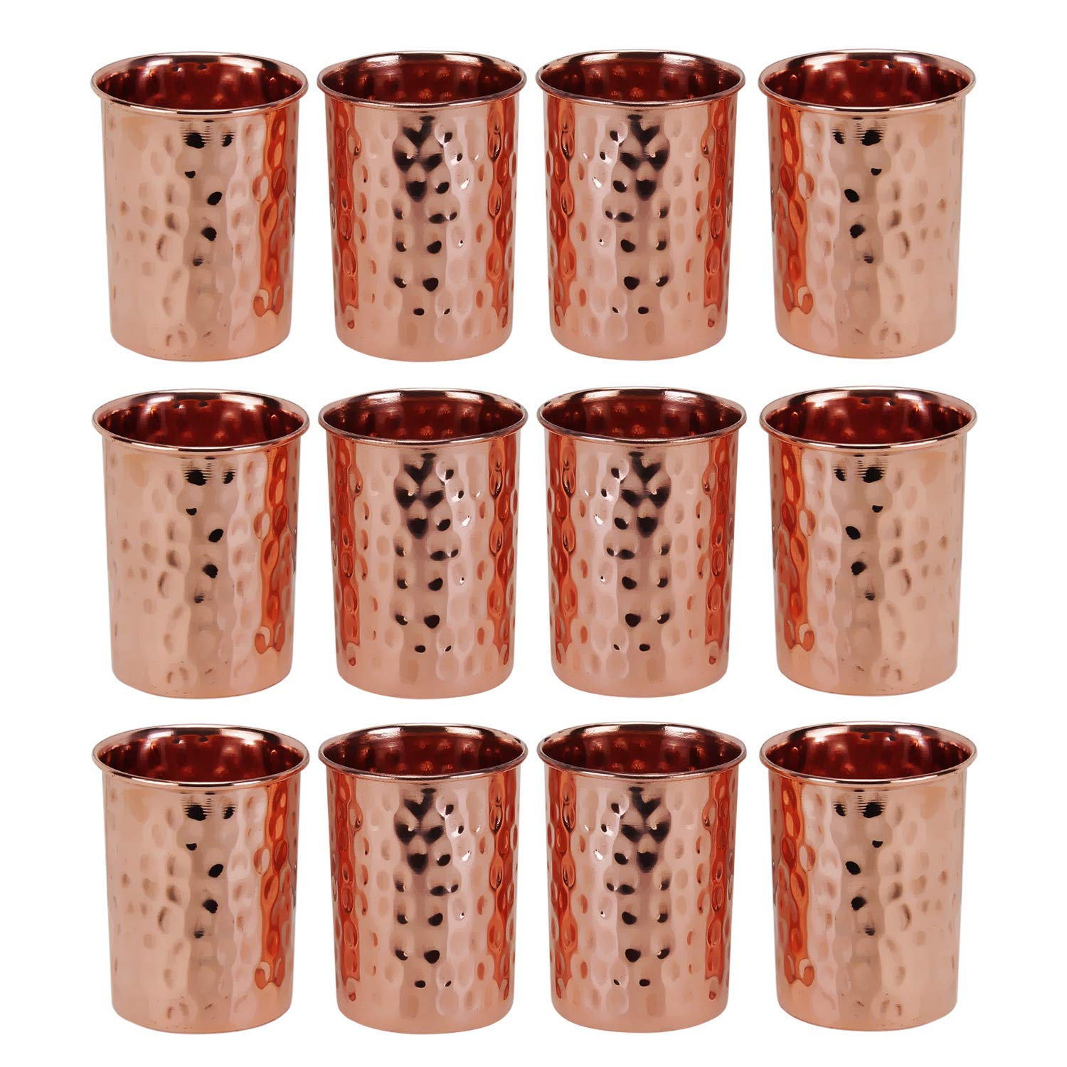 Zap Impex Pure copper hammered glasses moscow mule tumbler (Set of 12)