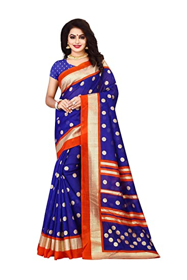 1522179235d04 Shree Ram Krishna Cotton Silk Saree With Blouse Piece (Saree-S1172 Blue Free  Size)  Amazon.in  Clothing   Accessories