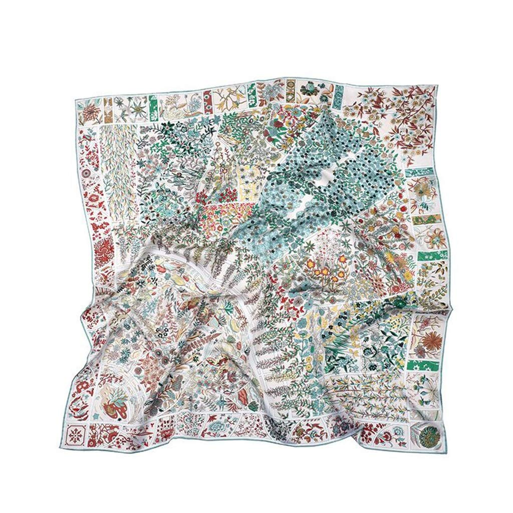 2 Square Silk Scarves Women Ladies , Satin Printed Scarf 4 colors,106cm106cm (color   3)