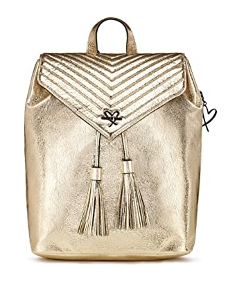 cf4222dac54 Image Unavailable. Image not available for. Color  Victoria Secret Angel  Backpack V-QUILT Crackle Gold Metallic ...