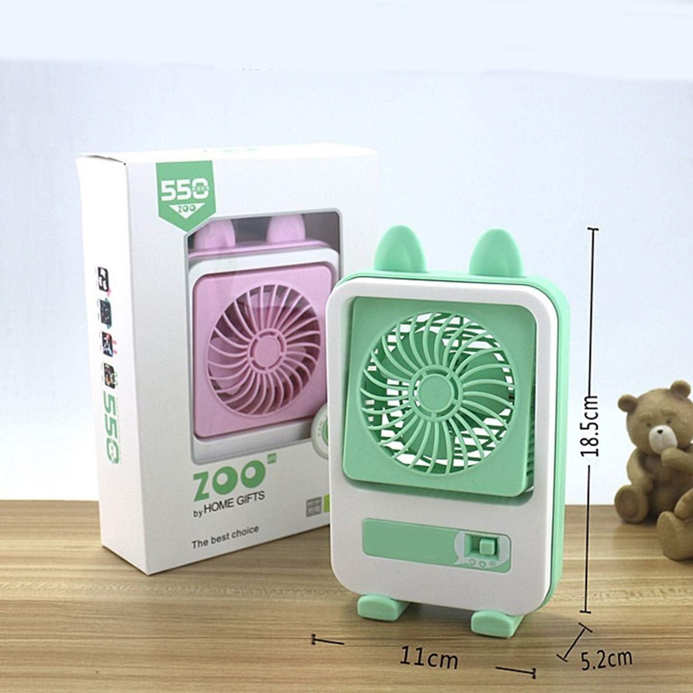 Air Cooler USB Mini Fan Bear Shape Cute Fan Portable Powerful Charging Fan Home Dormitory Office Color : Pink