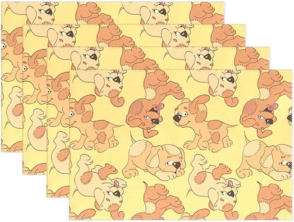 Tovagliette Set di 6, stuoie per tavoli in poliestere lavabile resistente al calore, antiscivolo, modello cuccioli per cani, per cucina, 45X30 cm