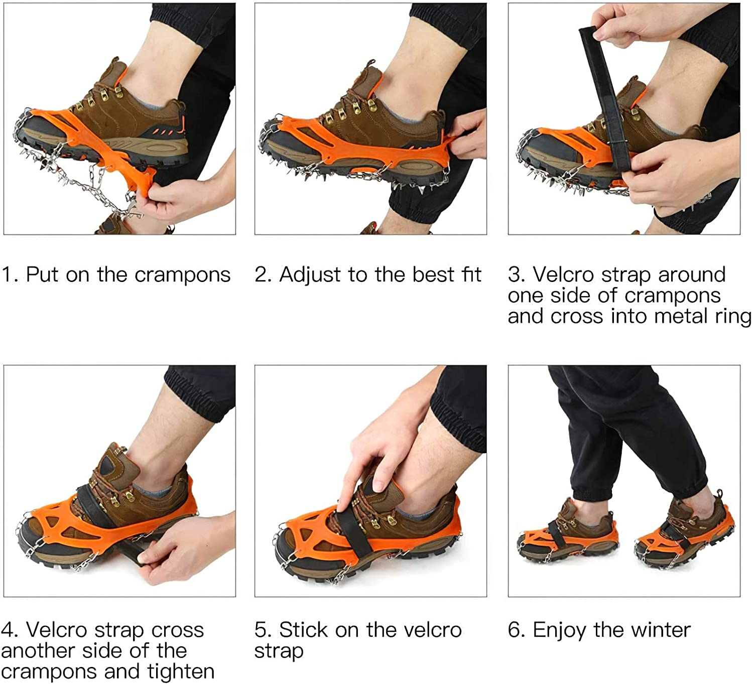 Traction Cleats Crampons for Footwear with 19 Stainless Steel Spikes for Walking Jogging Hiking on Snow and Ice IPSXP Ice Snow Grips M//L//XL Climbing