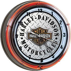 Harley-Davidson Bar & Shield Diamond Plate Neon Clock