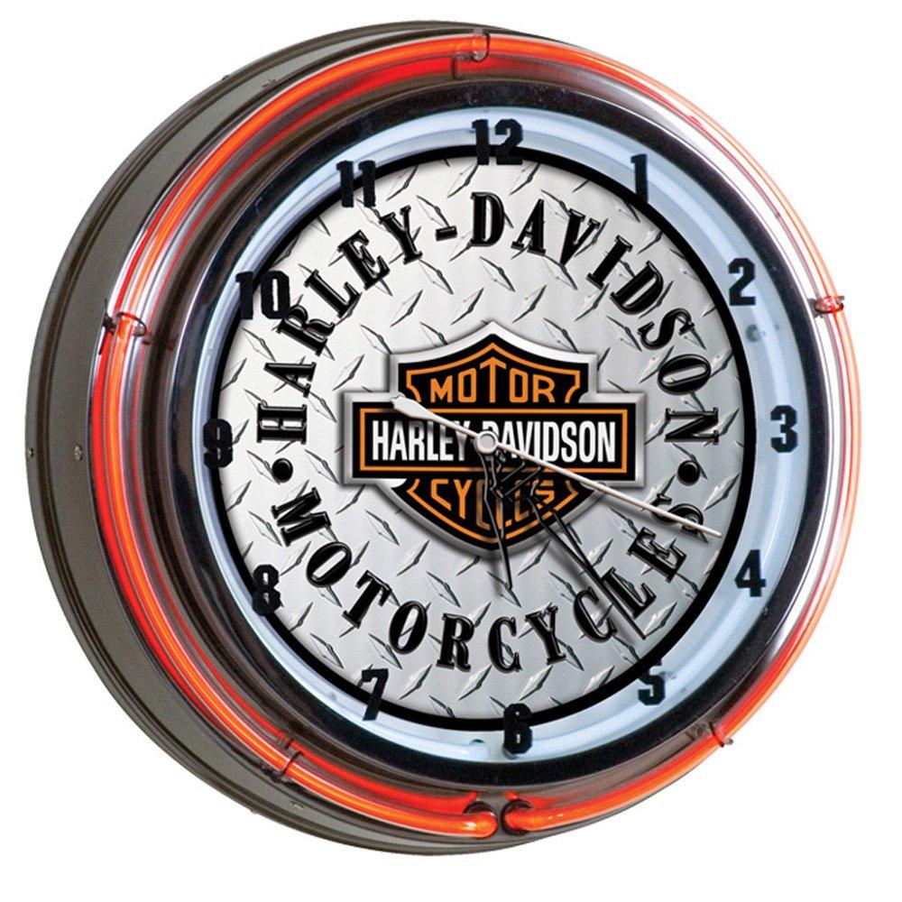 Harley-Davidson Bar & Shield Diamond Plate Neon Clock by Harley-Davidson