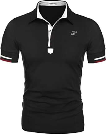Hotouch Mens Fashion Polo Shirt Short Sleeve Sport Polo T-Shirts Casual Slim Fit Polo Tee Basic Golf Tee