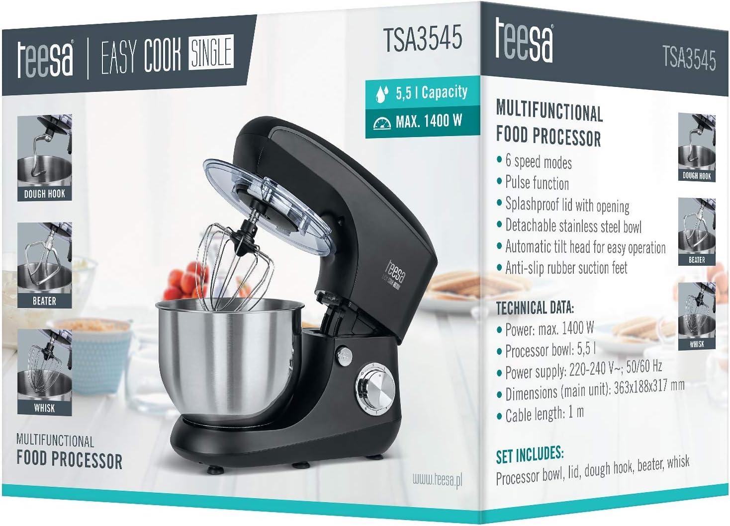 Teesa TSA3545-B EASY COOK SINGLE BLACK - Robot de cocina, color negro: Amazon.es: Hogar