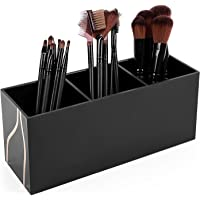 (Black) - Vencer Makeup Brush Holder Organiser 3 Slot Acrylic Cosmetics Brushes Storage Solution,Black,VMO-011