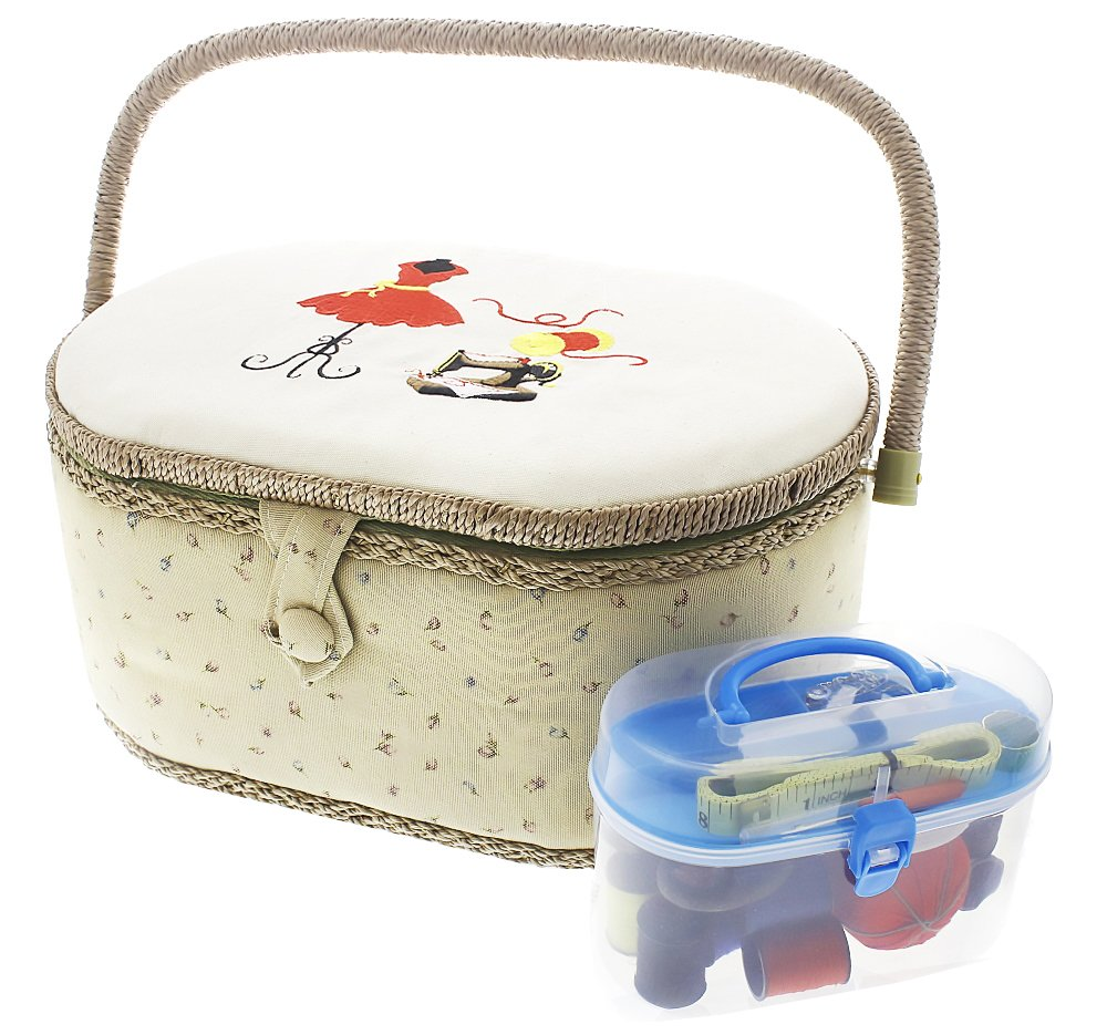 Vintage Sewing Basket Organizer Box Kit with Hand Sewing Supplies and Notions, Oval Shaped, 13 x 9 x 6 Inches by Juvale