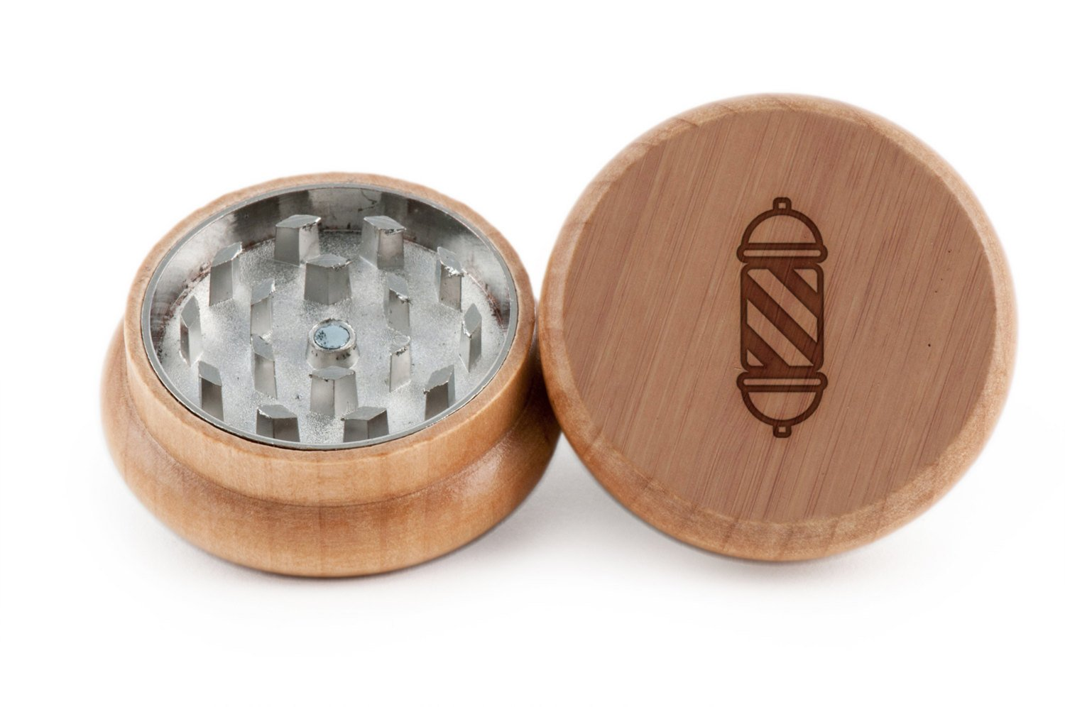 GRINDCANDY Spice And Herb Grinder - Laser Etched Barber Pole Design - Manual Oak Pepper Grinder